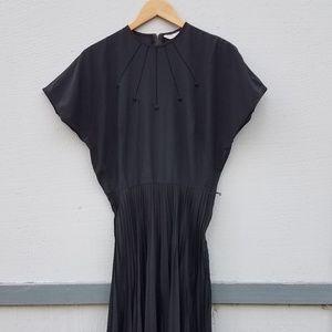 Vintage | Koret PleatedSkirt Draped 50sBlack Dress